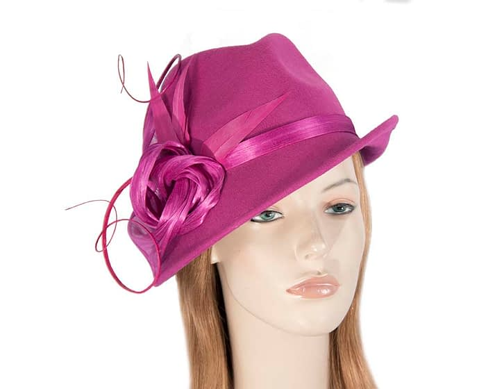 Fascinators Online - Exclusive fuchsia felt trilby hat by Fillies Collection 1
