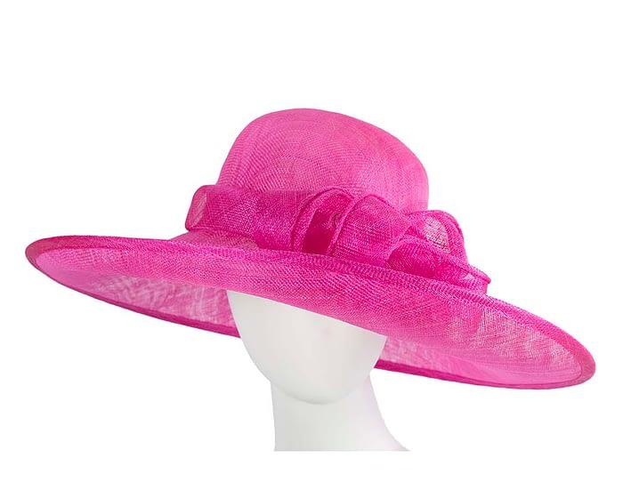 Fascinators Online - Wide brim fuchsia sinamay racing hat by Max Alexander 1