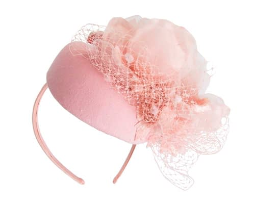 Fascinators Online - Pink pillbox fascinator with flower by Fillies Collection 5