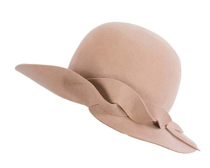 Fascinators Online - Unusual beige felt wide brim hat by Max Alexander 2
