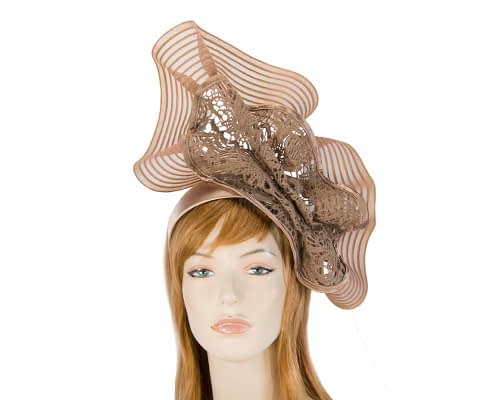 Fascinators Online - Large taupe racing fascinator with lace by Fillies Collection 1