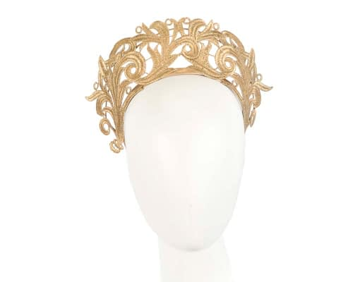 Fascinators Online - Gold lace crown racing fascinator by Max Alexander 9
