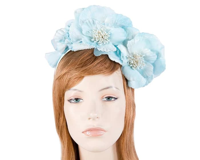 Fascinators Online - Ice blue flowers on the headband 1