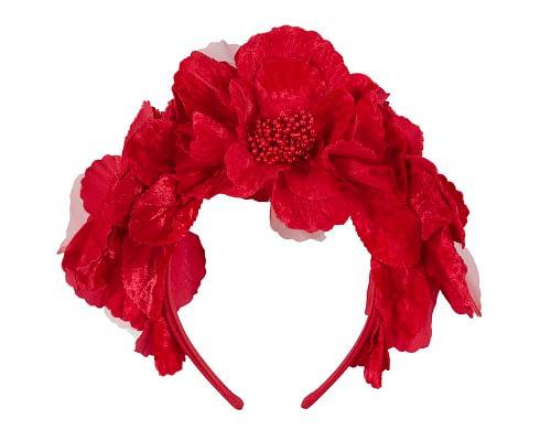 Fascinators Online - Bright Red flower crown halo 4