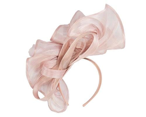 Fascinators Online - Tall blush silk abaca racing fascinator 1