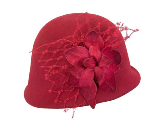Fascinators Online - Red felt bucket hat from Fillies Collection 4