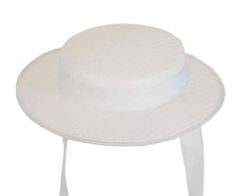 Fascinators Online - Small white boater fascinator hat by Max Alexander 2