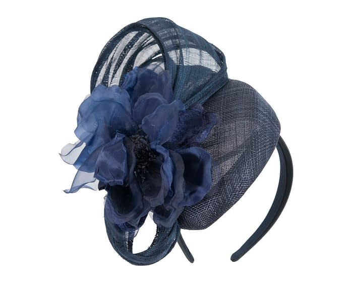 Fascinators Online - Navy pillbox fascinator with large flower by Fillies Collection 2