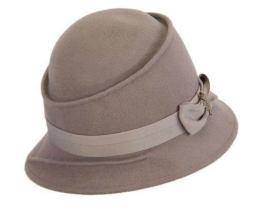 Fascinators Online - Grey ladies felt bucket hat 2