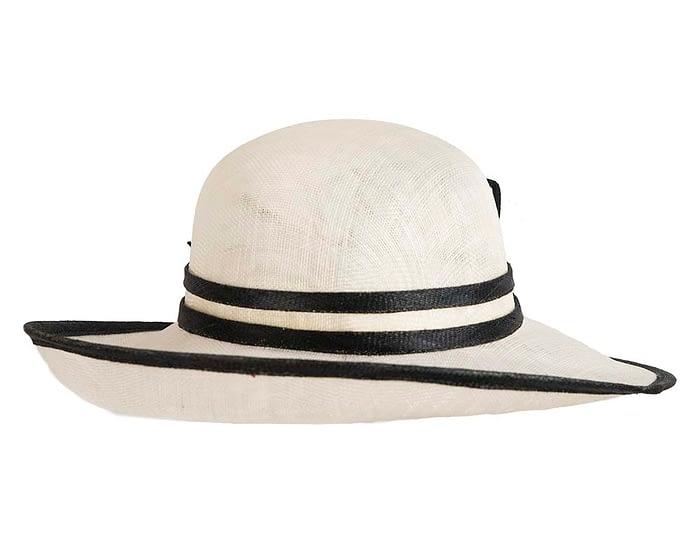 Fascinators Online - Cream & Black ladies sinamay racing hat by Max Alexander 3