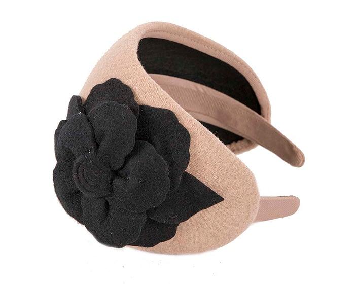 Fascinators Online - Wide headband beige winter fascinator with black flower by Max Alexander 2