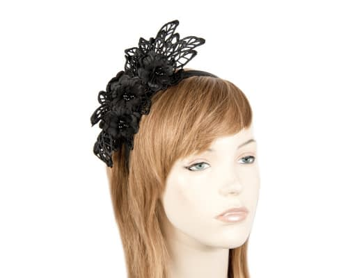 Black lace crown racing fascinator by Max Alexander