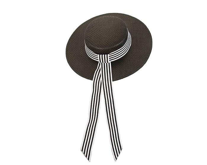 Fascinators Online - Black & white boater hat by Max Alexander 4