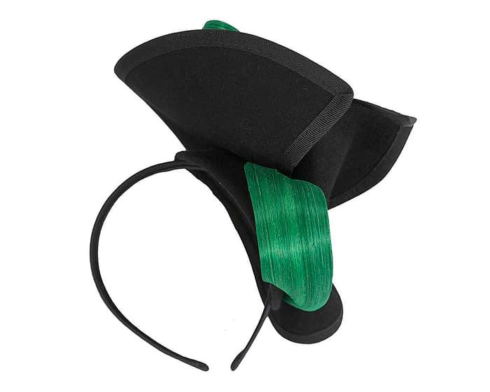 Fascinators Online - Black felt twist with green bow by Fillies Collection 6