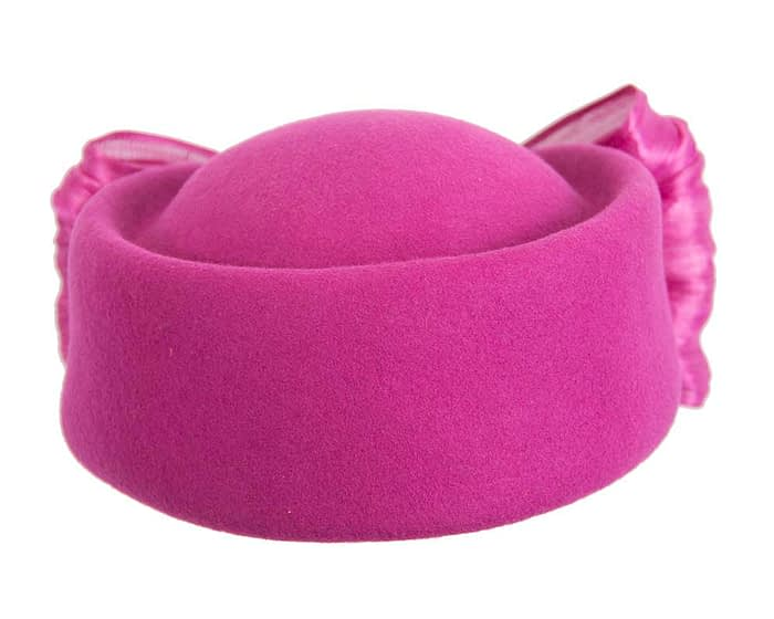Fascinators Online - Fuchsia felt ladies fashion beret hat with bow by Fillies Collection 4