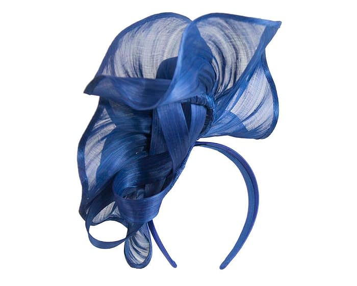 Fascinators Online - Royal blue sculptured silk abaca fascinator by Fillies Collection 4