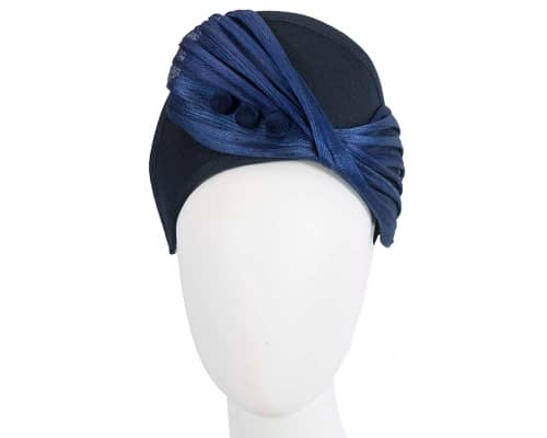 Fascinators Online - Navy & Royal Blue felt crown fascinator by Fillies Collection 47