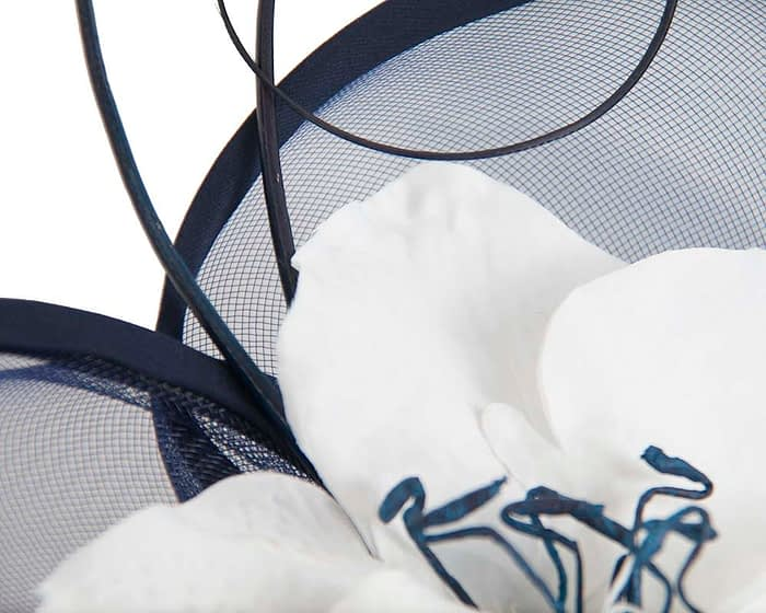 Fascinators Online - Bespoke navy & white heart fascinator by Fillies Collection 3
