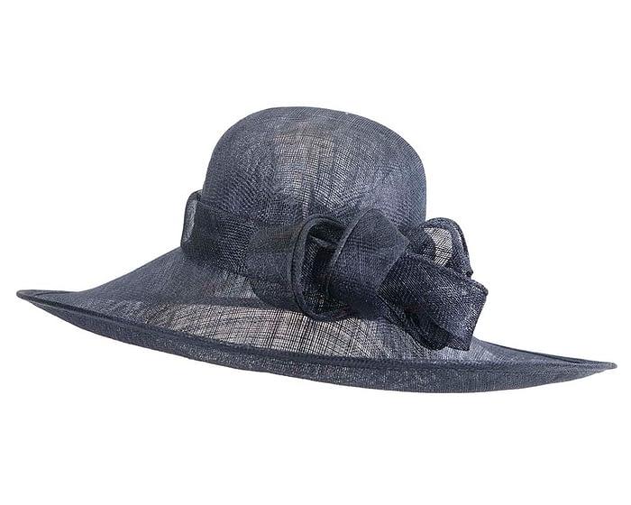 Fascinators Online - Wide brim navy sinamay racing hat by Max Alexander 2