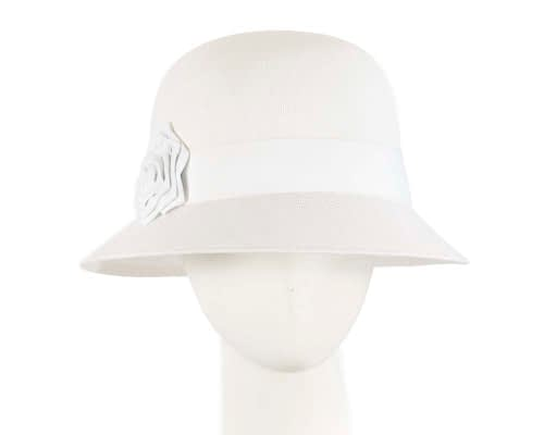 Fascinators Online - White spring racing bucket hat by Max Alexander 5