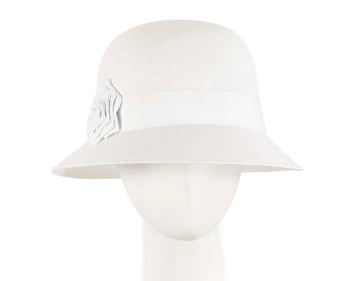 Fascinators Online - White spring racing bucket hat by Max Alexander 1