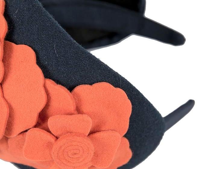Fascinators Online - Wide headband navy winter fascinator with orange flowers by Max Alexander 3
