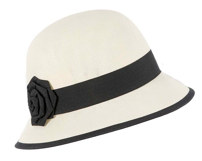 Fascinators Online - Cream and Black spring racing bucket hat by Max Alexander 2