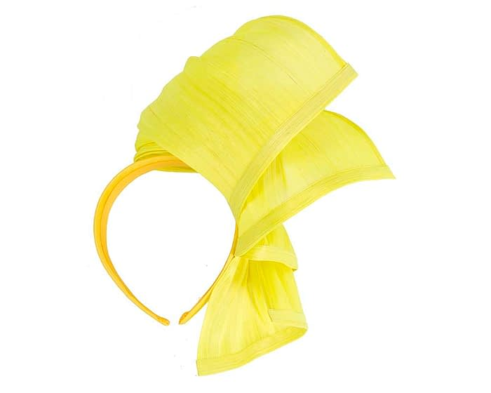 Fascinators Online - Yellow twists of silk abaca fascinator by Fillies Collection 4