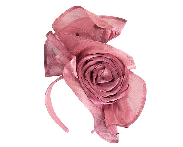 Fascinators Online - Dusty Pink sculptured silk abaca fascinator by Fillies Collection 2