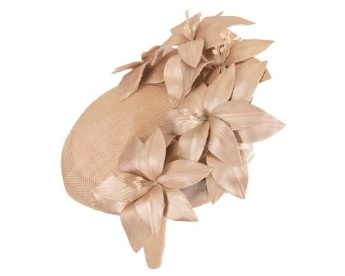 Fascinators Online - Gold leather flower pillbox fascinator by Fillies Collection 3