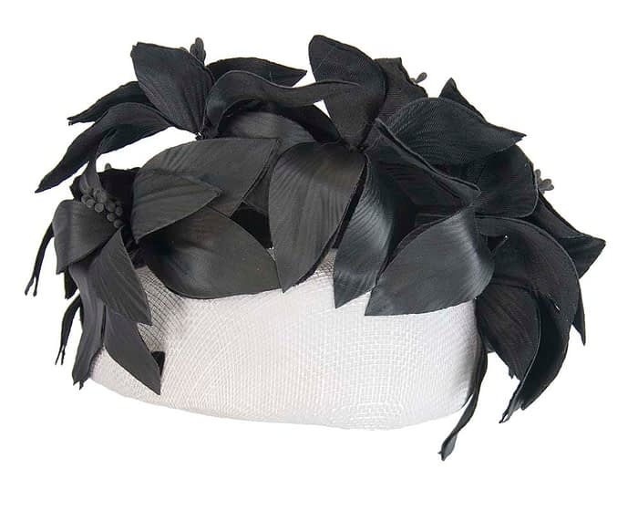 Fascinators Online - White & black leather flower pillbox fascinator by Fillies Collection 6