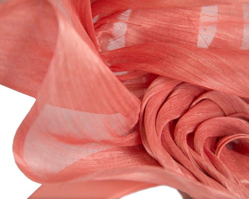 Fascinators Online - Coral sculptured silk abaca fascinator by Fillies Collection 3