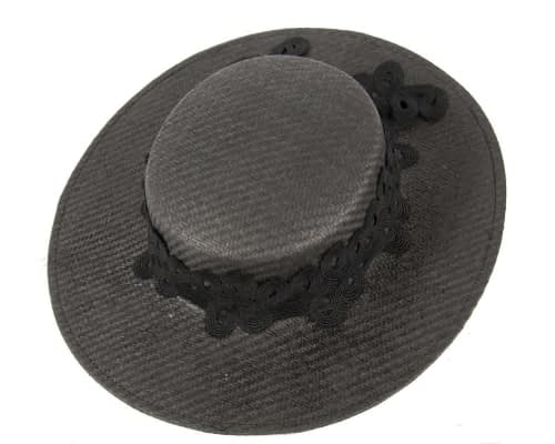 Fascinators Online - Black fashionable boater hat with lace 2