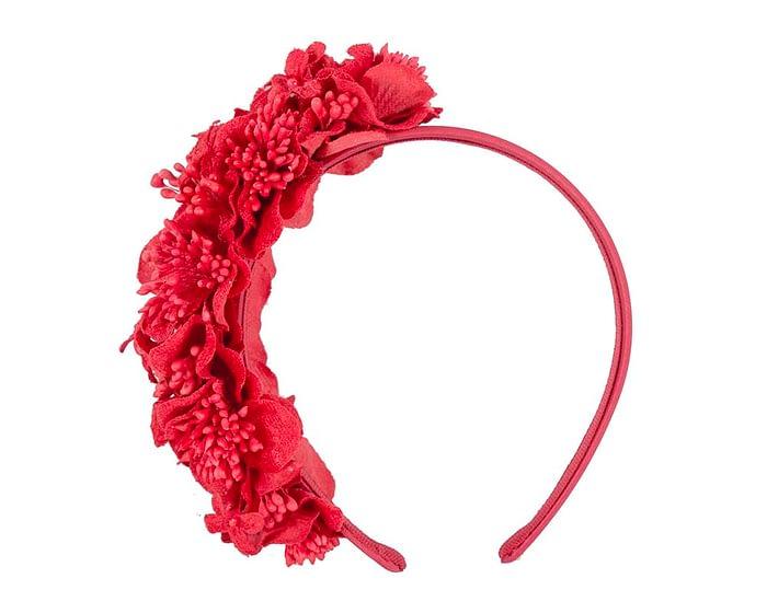 Fascinators Online - Racing fascinator - Red flowers on headband by Max Alexander 2