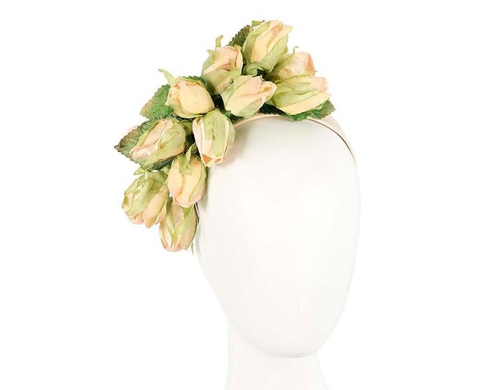 Fascinators Online - Multi-color light yellow roses flower headband by Max Alexander 1