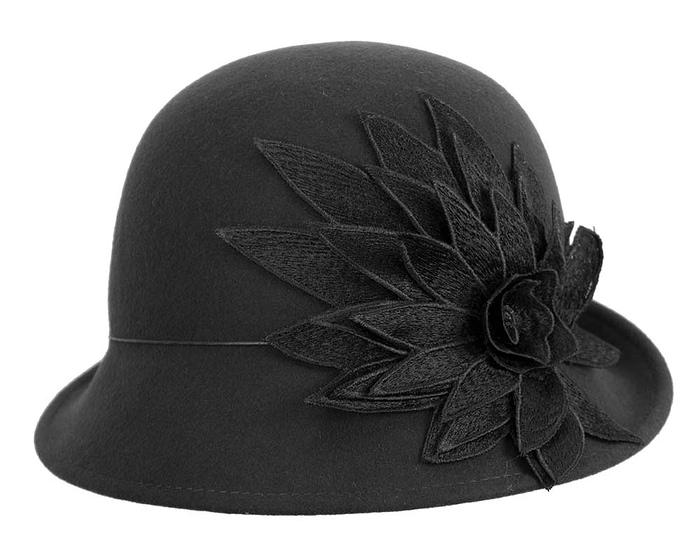 Fascinators Online - Black felt cloche hat with lace by Max Alexander 4