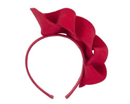 Fascinators Online - Twisted red felt winter fascinator 2