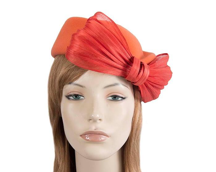 Fascinators Online - Orange felt ladies fashion beret hat with bow by Fillies Collection 2