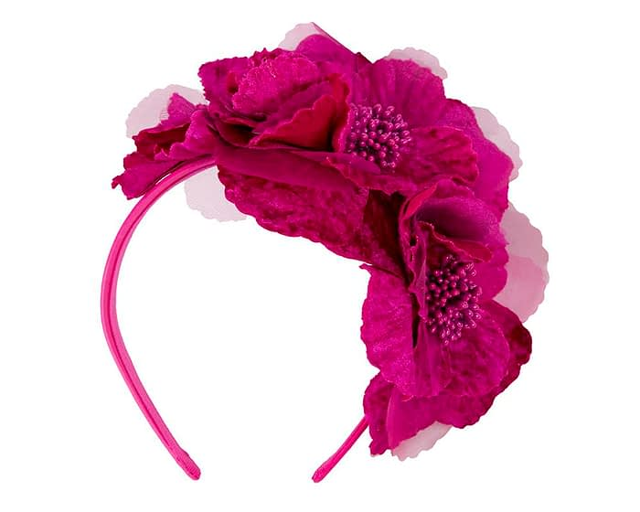 Fascinators Online - Fuchsia flowers on the headband 2