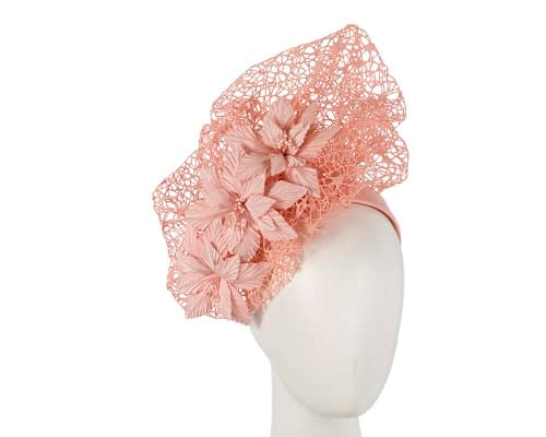 Fascinators Online - Peach pink designers racing fascinator by Fillies Collection 50