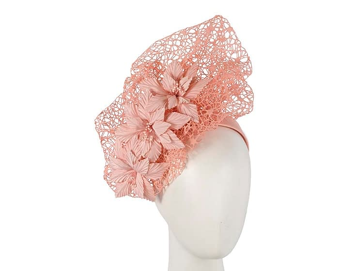 Fascinators Online - Peach pink designers racing fascinator by Fillies Collection 1