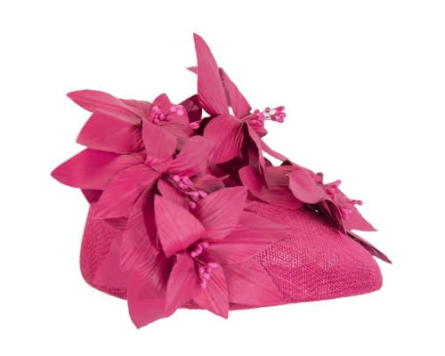 Fascinators Online - Fuchsia leather flower pillbox fascinator by Fillies Collection 4