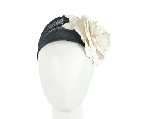 Fascinators Online - Navy cream leather flower headband fascinator by Max Alexander 4