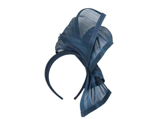 Fascinators Online - Navy twists of silk abaca fascinator by Fillies Collection 4