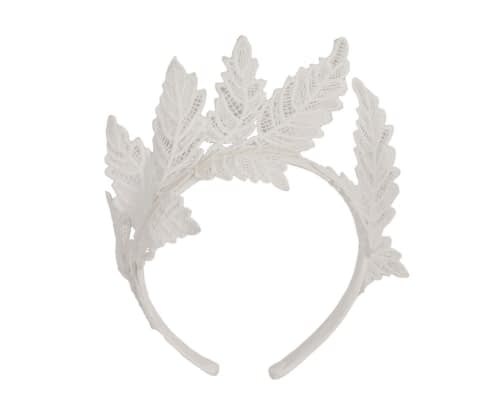 Fascinators Online - Ivory lace crown racing fascinator by Max Alexander 2