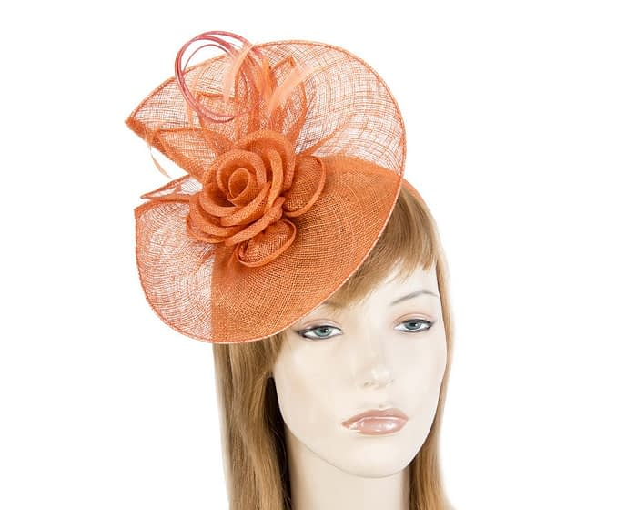 Fascinators Online - Large orange sinamay racing fascinator with feathers by Max Alexander 1
