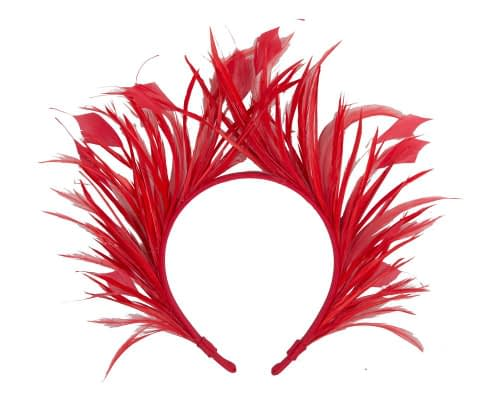 Fascinators Online - Red feather crown racing fascinator by Max Alexander 2