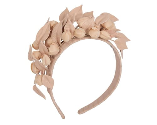 Fascinators Online - Nude leather hand-made racing fascinator by Max Alexander 2