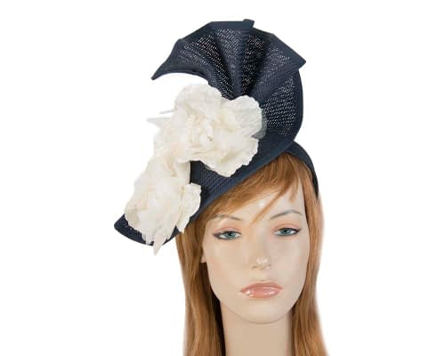 Fascinators Online - Bespoke large navy & cream flower fascinator by Fillies Collection 11