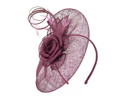 Fascinators Online - Large burgundy wine sinamay racing fascinator with feathers by Max Alexander 2